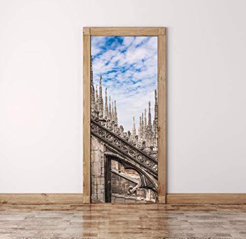 FCFLXJ3D Tür Aufkleber Kathedrale Poster Wandbild Tapete dreidimensionale Home Hintergrund Schlafzimmer Tür Dekoration selbstklebende PVC selbstklebende Stereo er 77x200cm - Kathedrale Türen