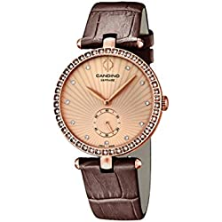 Candino Women's Quartz Watch with Rose Gold Dial Analogue Display and Brown Leather Strap C4565/2