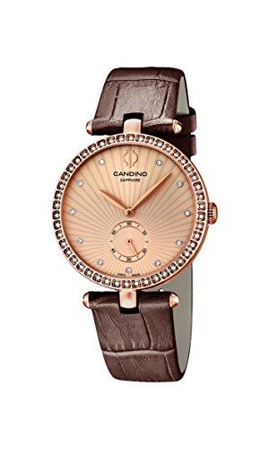 Candino da donna in oro rosa con orologio al quarzo con Display analogico e cinturino in pelle, colore: marrone, 2 C4565