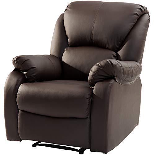 LENTIA Relaxsessel Liegesessel Ruhesessel aus Kunstleder Relax Sessel Loungesessel für Wohnzimmer Fernsehsessel mit Liegefunktion Tragfähigkeit 150 kg 77 x 103 x 70 cm (Braun)
