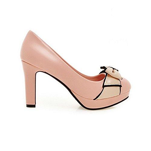 VogueZone009 Femme Matière Souple Tire Rond à Talon Haut Couleurs Mélangées Chaussures Légeres Rose