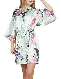 Besweeton Bata Kimono De Satén Floral para Mujer