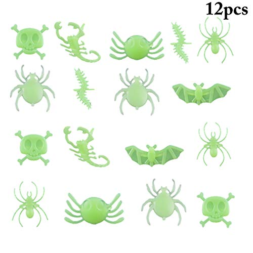 Kapmore 12 STÜCKE Kinder Ring Set Leucht Neuheit Verschiedene Insekten Streich Spielzeug Mitbringsel Ring (Erschrecken Sie Ihre Freunde Streich)