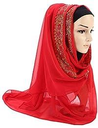 Femmes Écharpe Longues Châle Foulard Perle Musulman Doux Élégant Chic  Vintage, QinMM Léger et Mince 523006bb87b