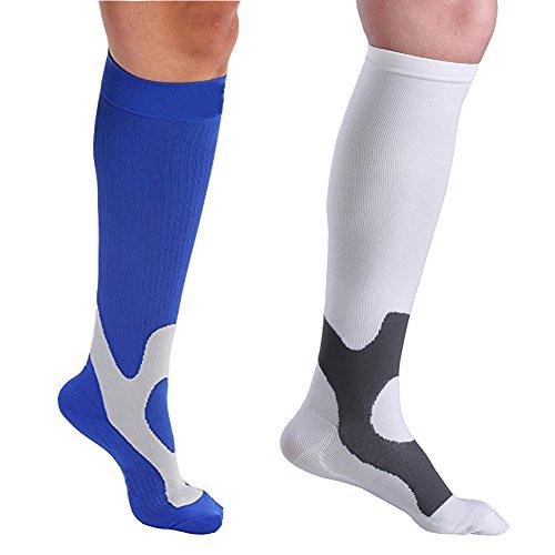 2Par Calcetines de compresión para enfermeras fútbol y recuperación de deportes correr circulación viaje (Hombres y Mujeres)–7colores, hombre, white+blue, L/XL