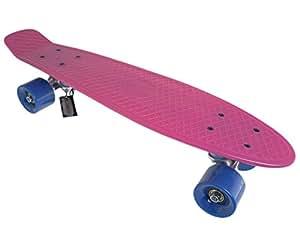 """SFT Cruiser skateboard complet en plastique à monter soi-même Deck rose/roues bleu clair 22"""""""