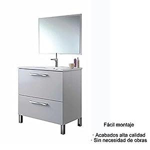 Hogar Decora Mueble de Baño, Espejo Y CERÁMICA Incluido (Puerta Abatible y Cajón)