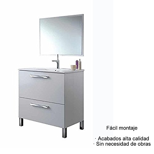 Mueble de Baño + Espejo + LAVABO CERÁMICO ( Puerta Abatible y Cajón )