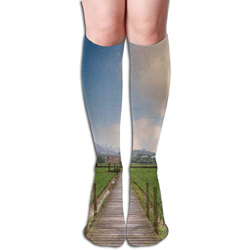 BBABYY Compression Socks Graduated Stockings For Men & Women,Rural Scenery With Wooden Path And House Under Cloudy Sky Mountain Serenity Nature,Prevents Swelling,Travel,Everyday Use -