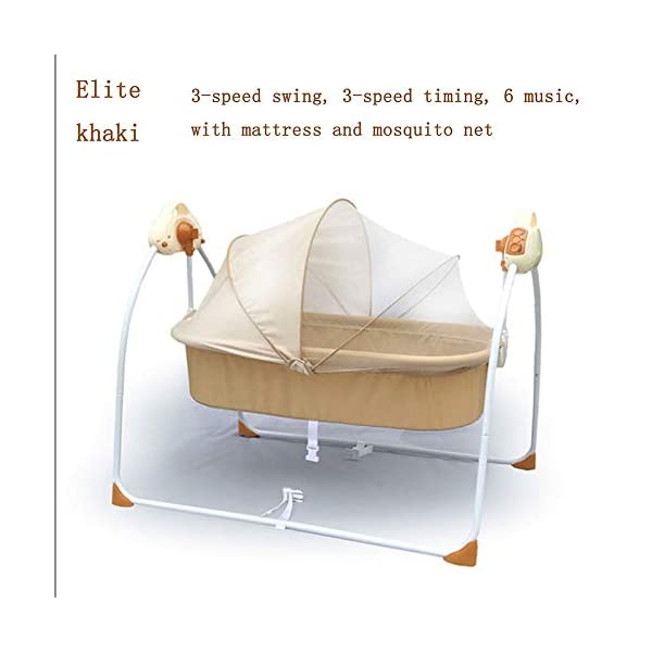Mr.LQ Electric Shaker Electric Cradle Bed Baby Shake Bed Newborn Sleeping Intelligent Automatic Flat Lay Crib,Pink  ?Special design: Carefully design every detail to create a comfortable feeling for your baby. It is closer to the mother's arms. ?Safety: thick steel pipe, strong carrying capacity, anti-slip mat on the foot, ensuring the base is strong, will not damage the floor ?Additional features: 3-speed swing, 3-speed timing, 6 music, with mattress and mosquito net 5