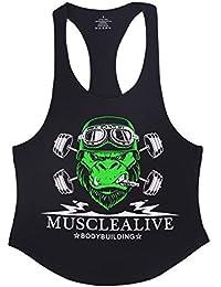 Muscle Alive Uomo Fitness sotto Maglie Sportive Canotta Bodybuilding Palestra Allenarsi Stringer Vest