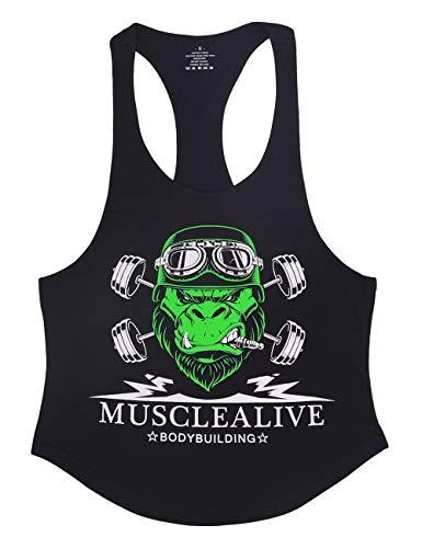 Este bodybuilding tops está hecho de algodón ligero 95% y 5% spandex o 100% algodón, diseñado para bodybuilding, entrenamiento y fitness para hombre.  Racerback, correas de hombro, aproximadamente 2 cm o 3 cm disponibles.  Diseño de cuello profundo, ...