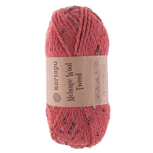 maDDma ® 5 x 100g Strickgarn Kartopu Melange Wool Tweed Strick-Garn Häkelgarn Wolle, Farbe:M1373 Pastellrot -