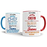 Tassenset mit Spruch Chef + Chefin - Kaffeetasse/Mug/Cup - Qualität Made in Germany Innen/Henkel Blau & Rot