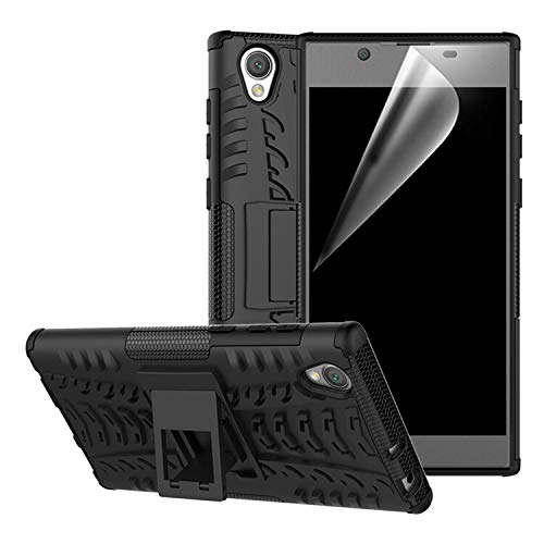 betterfon | Outdoor Handy Tasche Hybrid Case Schutz Hülle Panzer TPU Silikon Hard Cover Bumper für Sony Xperia L1 Schwarz Gummi Hard Case Cover