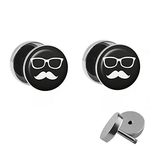 CHNAUZER und BRILLE - 2 Ohrstecker zum Schrauben - SCHWARZ-WEIßE Moustache FAKE PLUG - Ø 10mm - OHRRINGE Fakeplug - Silber Ohrring in Schwarz-Weiß - Chirurgenstahl Faketunnel (Fake Kurze Bart)