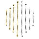 OUNONA Lot de 8 rallonges en chaîne d'acier inoxydable pour colliers, et bracelets, doré/argenté