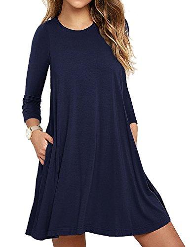Blaues T-shirt Tasche (LILBETTER Damen Langarm-beiläufige Loose T-Shirt-Kleid (Navy blau L))