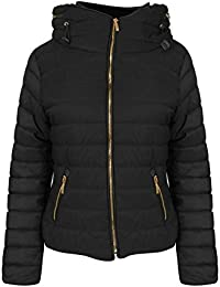 Womens Ladies Quilted Padded Coat Bubble Puffer Jacket Fur Collar Hooded Thick [Black, UK XL]