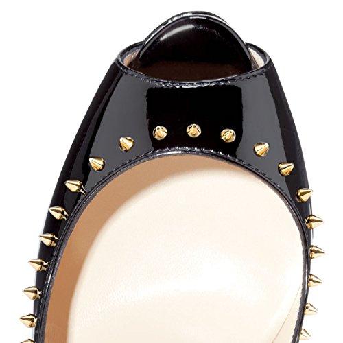 Onlymaker Damenschuhe High Heels Pumps Peep Toe Stiletto Plateau Absatz Lackleder gold and black
