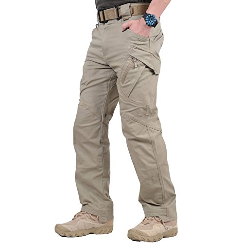 BELLOO Herren Taktische Hose Baunwolle Chino Hose Rangerhose Kampfhose Militär Hose,Khaki,L