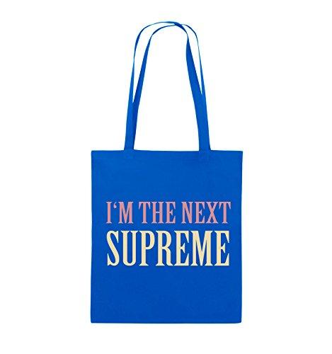 Comedy Bags - I'm the next supreme - Jutebeutel - lange Henkel - 38x42cm - Farbe: Schwarz / Weiss-Rot Royalblau / Rosa-Beige