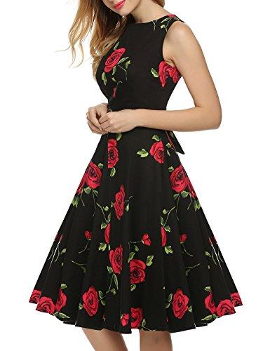 VKStar®Vintage 1950s A-Linie Klassisch Frauen Retro Drucken Blumen Audrey Hepburn Dress Abendkleid Cocktailkleid Schwarz Rose