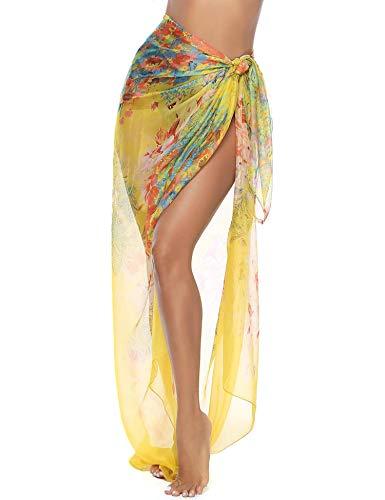 iClosam Damen Strandkleid Bikini Cover up 2019 Sommer Bikini Kleid Damen Pareos & Strandkleider,Multifunktional,Durchsichtig (Gelb1, 200 * 140cm)