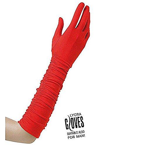 Preisvergleich Produktbild Plisse Lycra Red Lycra Satin & Sequin Gloves for Fancy Dress Costumes Accessory