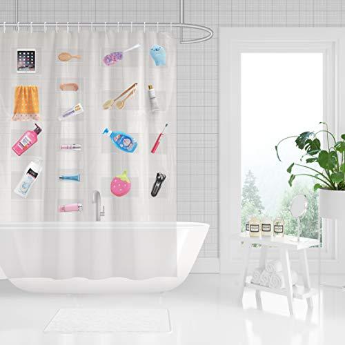 Anjee Clear Duschvorhang mit 17 Taschen | wasserdichte Anti-Schimmel PEVA Badvorhänge, ideal für Dusche im Bad, 72x72 Zoll