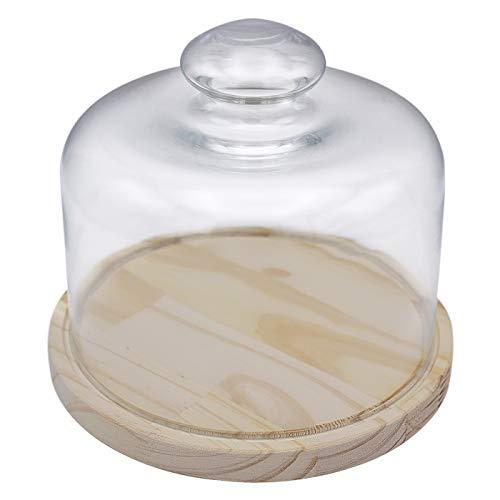 Quesera Redonda con Tapa de Cristal - Caja Queso Base de Madera - Ideal para Conservar Frescos Tus Quesos - Diámetro Ø 17cm