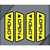 clickforsign Door Open Warning reflective Car Sticker (Black)