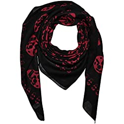 Freak Scene Pañuelo de algodón ° Calaveras 1 negras/rojo ° Pañuelo cuadrado para el cuello
