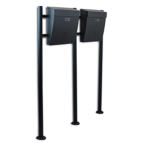BITUXX® Freistehender Doppelstandbriefkasten Briefkastenanlage Briefkasten Einwurf oben Dunkelgrau Anthrazit - 2