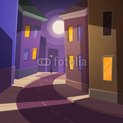 "Alu-Dibond-Bild 90 x 90 cm: ""Night city street"", Bild auf Alu-Dibond"