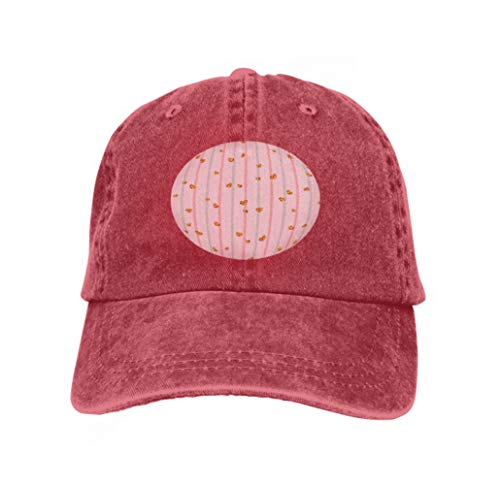 Xunulyn Comfortable Baseball Caps pink Blue White Geometric Stripes golden tti Hearts Symbol l red -