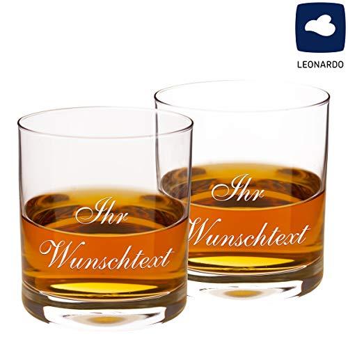 Whiskyglas mit persönlicher Gravur - eigene Gravur, 2 Gläser - Verschiedene Gravurmotive mit Wunschnamen, Jahreszahlen, Initialen oder Wunschgravur - Vatertaggeschenke, Geburtstagsgeschenke