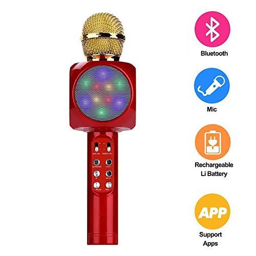 LUYION Kabelloses Bluetooth-Karaoke-Mikrofon mit tragbaren Lautsprecher Voice Recorder LED-Licht USB-TF-Kartensteckplatz FM-Radio Indoor Musik DJ KTV,Red (Fm-radio Karaoke Mit Maschine)