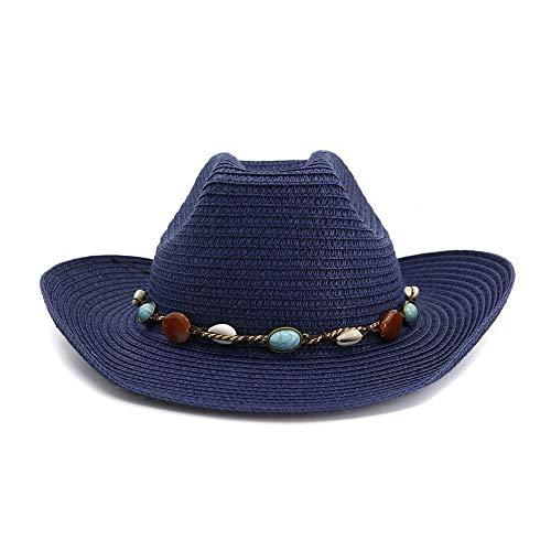 Mann Blue Jugend Kostüm - HÖHERE MÄNNER 2019 Art- und Weiseklassischer westlicher Cowboyhut-Frauen-im Freienstrand-Hut-bunter Steindekoration-Jugend-Sonnenhut (Farbe : Navy Blue, Größe : 56-58CM)