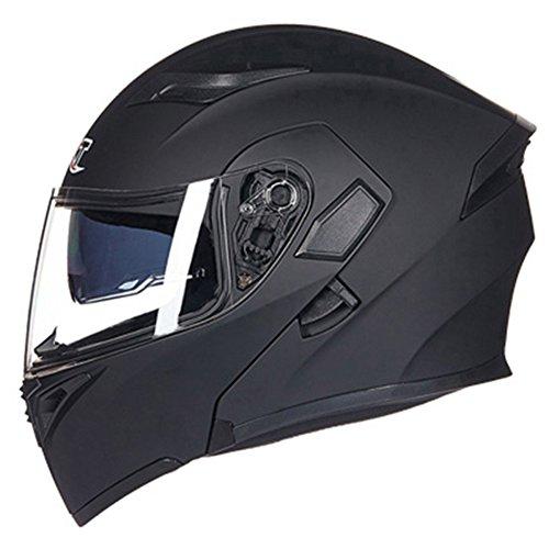 Motorrad Helm Double Lens Anti-Fog Offenes Gesicht Full Face Helm Vier Jahreszeiten Sport Im Freien,MattBlack-M