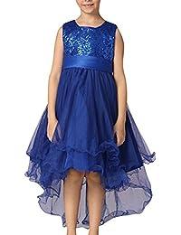 Niña Sin Mangas Vestido De Princesa De Encaje Bautizo Boda Fiesta Lentejuelas Vestido Azul Oscuro para