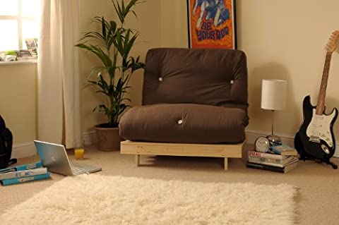 2ft6 Small Single Wooden Futon Set with CHOCOLATE
