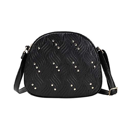 Prada Satchel Bag (Mitlfuny handbemalte Ledertasche, Schultertasche, Geschenk, Handgefertigte Tasche,Frauen neue Mode Niet kleine runde Tasche Messenger Crossbody Umhängetasche)
