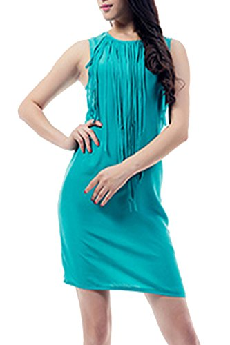 Damen Casual lose Tassel Mini Etuikleid Bluegreen