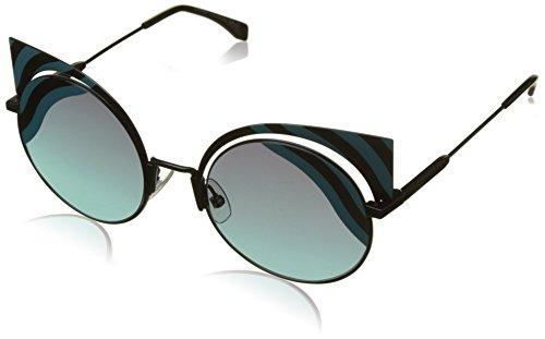 Fendi ff 0215/s, occhiali da sole donna, nero (mt blk turqu), 53