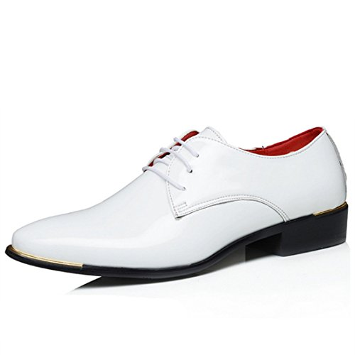 Men's Soft Patent Leather Pointed Toe Formal Shoes white