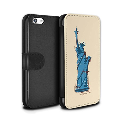 Stuff4 Coque/Etui/Housse Cuir PU Case/Cover pour Apple iPhone 5C / Multipack Design / Monuments Collection Statue de la Liberté