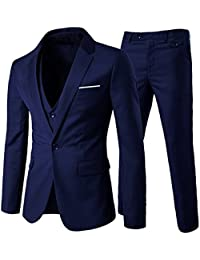 Costume homme formel d affaire de couleur uni un bouton à la mode slim fit 65455526e8e