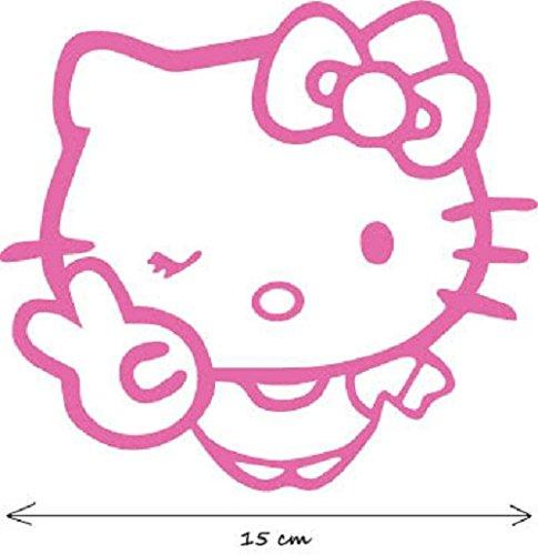 Adhesivo decorativo para coche (15 cm), diseño de Hello Kitty guiñando el ojo