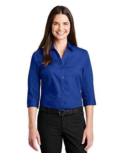 Womens 3/4 Sleeve Poplin Shirt (Port Authority Womens 3/4-Sleeve Carefree Poplin Shirt (LW102) -Graphite -S LW102 -True Royal 4XL)